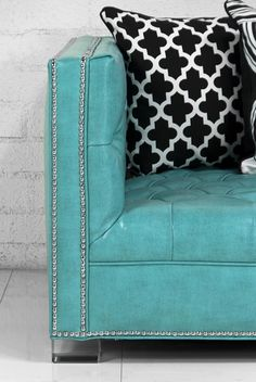 Turquoise Leather Couch