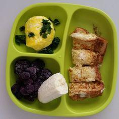 """#coffeemug #eggs and #kale / #blackberries #blueberries #banana / #homemade #frenchtoast    I make scrambled eggs in a coffee mug when only one of us…"""