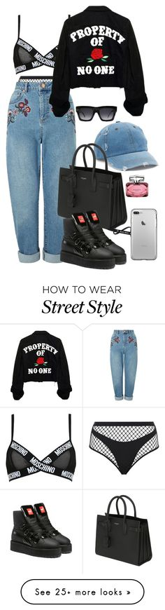 """""""street style"""" by onedirectionlover1432 on Polyvore featuring Agent Provocateur, Miss Selfridge, Moschino, Mudd, CÉLINE, Yves Saint Laurent, Puma and Gucci"""