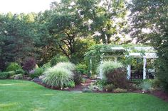 Curved garden bed with tiered planting