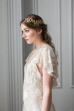 Alena Wrap Headpiece Gold leaf circlet crown by AnnaMarguerite