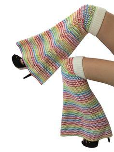 One Size  -  Unicorn  - Wool Crochet Boot Leg Warmers /  Bell Bottoms / Garter Pants /  Flares /