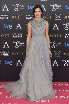 Angela Gonzalez-Sinde in a grey tulle gown #Goyas 2015