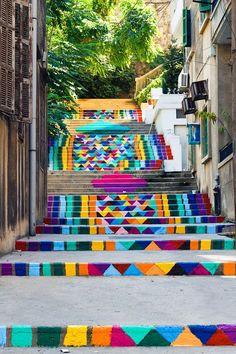 Rainbow street art -  steps in Beirut, Lebanon.