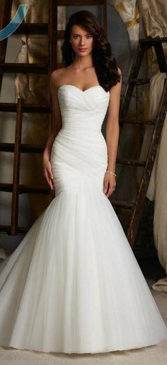 Wedding Dress Sexy Mermaid Strapless Lace Up White Ivory Tulle Bridal Gown http://onlinesellingitems.com/recommends/clothes/weddingdress1-2/