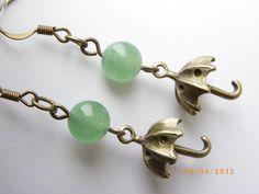 Umbrella Antique style bronze tone charm Jade beads earrings $8.99