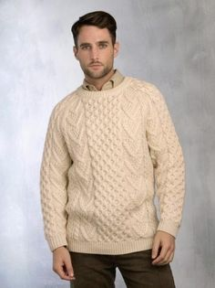 This Honeycomb Hand Knit Crew Neck Sweater is a classic sweater that is made from Irish Merino Wool. The Sweater is warm and strong, it is the kind of sweater you can wear everyday Irish Sweaters, Aran Sweaters, Working Bee, Irish Clothing, Sweater Making, Merino Wool Sweater, Knitting Designs, Hand Knitting, Knitwear