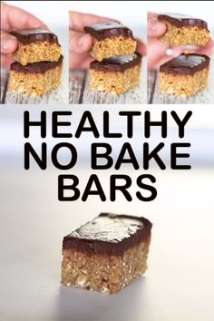 Healthy No Bake Bars Thanks for this post.Quick, easy, healthy No Bake Bars that kind of taste like cookie dough and are refined sugar free, oil-free and gluten-free. Bonus – They come with an optional not so healthy fudgy chocolate# Bake Quick Healthy Desserts, Healthy Vegan Snacks, Nutritious Snacks, Vegan Sweets, Easy Snacks, Healthy Baking, Vegan Desserts, Easy Desserts, Dessert Recipes