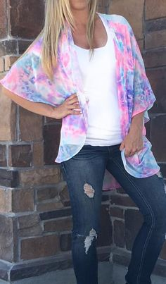 Cotton Candy Dream Kimono! The perfect summer outfit topper! Blushbfashion.com
