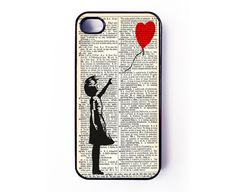 Iphone 4 Case - Banksy Balloon Girl Dictionary iPhone case for iPhone 4 / 4S. €10.50, via Etsy.