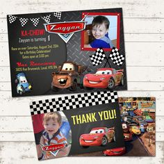 CARS Birthday Party Invitation & Thank You Card - Chalkboard, Metal, Checkered F. Cars Birthday Invitations, Cars Birthday Parties, Birthday Celebration, Wedding Invitations, Lightning Mcqueen Party, Lightning Mcqueen Birthday Cake, Late Birthday, Birthday Decorations, Thank You Cards