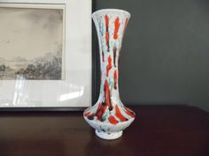 Retro Speckled Ceramic Vase in Orange Turquoise by MadGirlRetro