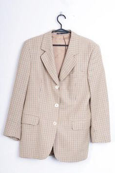 Burberrys Womens 38 M Blazer Brown Wool Top Suit Check Sandra - RetrospectClothes