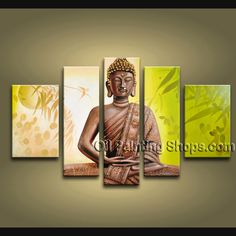 Feng Shui Buddha Oil painting 1061. This 5 panels canvas wall art is hand painted by A.Qiang, instock - $218. To see more, visit OilPaintingShops.com