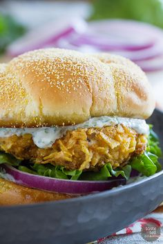 With the perfect amount of spice and a ton of flavor, this Spicy Chicken Sandwich with Cilantro-Lime Mayo is so good that the family asks for it over and over again!: