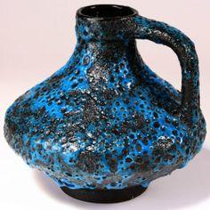 1960s Retro West German Blue  Black Fat Lava Jug Vase by Jopeko WGP Rare