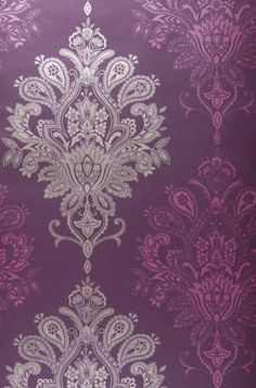 Chandelier And Purple And Black Damask Wallpaper