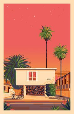 california-based artist george townley conveys his admiration for the city of los angeles through amazing colorful renderings of its landmarks. Retro Kunst, Retro Art, House Illustration, Grafik Design, Aesthetic Art, Aesthetic Wallpapers, Art Inspo, Pop Art, Concept Art