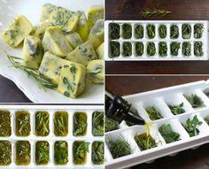 Cubitos de aceite de oliva con hierbas