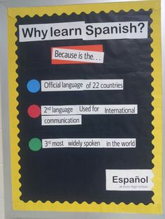 Why learn Spanish? Bulletin board for Spanish class … Spanish Classroom Decor, Spanish Classroom Activities, Classroom Ideas, School Classroom, Middle School Spanish, Elementary Spanish, Spanish Lesson Plans, Spanish Lessons, Spanish 101
