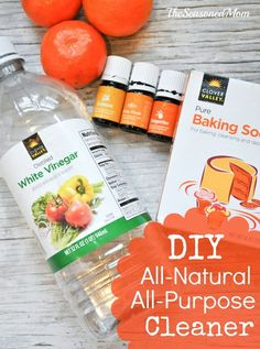 In just minutes you can put together this DIY All-Natural, All-Purpose Cleaner to safely spring clean your family's home!/ The Seasoned Mom/ Homemade Cleaning Products, Cleaning Recipes, Natural Cleaning Products, Cleaning Hacks, Cleaners Homemade, Diy Cleaners, Kitchen Cleaners, Green Cleaning, Spring Cleaning