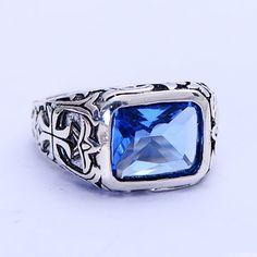 Verdadeiro Puro 925 Anéis de Prata Esterlina Para Homens Azul Cristal Natural Pedra Anel Mens Oco Gravado Vintage Flor Jóias Finas