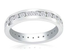 Channel Set Platinum 4 Carat SI1 Diamond Eternity Ring Available Exclusively at Gemologica.com