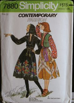 Vintage 70s Sewing Pattern Misses Skirt Vest Scarf and Pullover Blouse Pattern Simplicity 7880