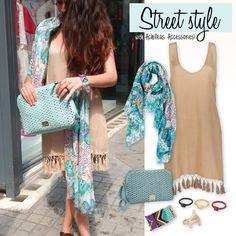 Street style με Achilleas Accessories σε beige και ciel αποχρώσεις! #achilleas_accessories #street #style #ss2014 #summer Kimono Top, Collection, Tops, Women, Fashion, Moda, Fashion Styles, Fashion Illustrations, Woman