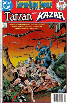 Tarzan and Ka-Zar Super Team Family; The Lost Issues Comic Book Covers, Comic Book Heroes, Comic Books Art, Comic Art, Caricature, Dc Comics, Marvel And Dc Crossover, Fictional Heroes, Book And Magazine