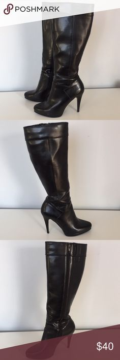 """Nine West Ladies 8M Black Tall Heeled Boots. -Nine West Ladies 8M Black Tall Boots. -Excellent pre owned condition with regular wear from use. -4.25"""" heel height with 15.5"""" calf circumference. Nine West Shoes Heeled Boots"""
