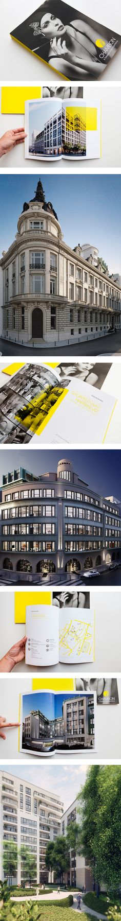 Concept, brochure and visuals for Chambon, a prestigious residential and offices project in the heart of Brussels. Portfolio Samples, Real Estate Branding, Brochure Design Inspiration, Catalog Design, Real Estate Marketing, Layout Design, Architecture, Duo Tone, Brussels