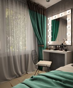 Дамский уголок - Architecture and Home Decor - Bedroom - Bathroom - Kitchen And Living Room Interior Design Decorating Ideas - Bedroom Green, Bedroom Colors, Home Bedroom, Bedroom Decor, Bedroom Small, Trendy Bedroom, Light Bedroom, Bedroom Modern, Bedroom Ideas