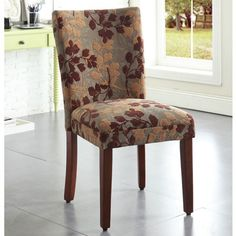 Fabric Dining Chair Pattern Leaf Padded Vintage Kitchen Parson Cushioned Modern :