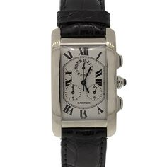 Pre-Owned Cartier Unisex White Gold Tank Americaine Chronograph Cartier Tank Americaine, Tank Watch, Luxury Jewelry, Chronograph, Rolex, Jewelry Watches, White Gold, Product Launch, Unisex