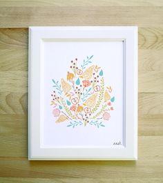 East art print 8x10 11x14 11x15 floral woodland by littlelow, $20.00