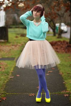 Forever 21 Cropped Sweater, Target Tights, Heels, Icing Tiara, Old Navy Necklace