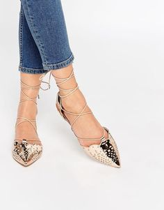 e7887f4ca91912 ASOS COLLECTION ASOS LORDSHIP Lace Up Pointed Ballet Flats Beige Flats