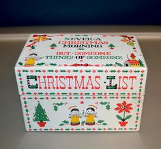Vintage Tin Recipe Box Christmas Morning Metal Index File Cookie Exchange Kitchen Accessory by AmoreDolce on Etsy https://www.etsy.com/listing/90742364/vintage-tin-recipe-box-christmas-morning