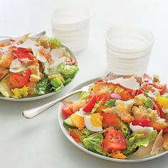 Recipe for light and fresh Panzanella salad with Tomatoes and Crispy Prosciutto