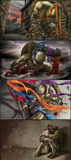 TMNT fan art brothers fallen. It's so sad. Leo(blue) and Raphel(red) look so distraught. Like they failed to protect their brothers. Leo being the leader feels responsible for letting down splinter and Raphel for not being strong enough. Makes me tear up everytime I see it.