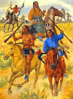 Chief Crazy Horse leading the Indian Charge at the Battle of Little Big Horn