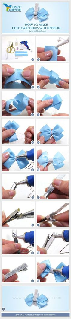How to make cute hair bows with ribbon by Ada123