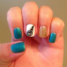 """This #manicure took Katy Perry's hit lyrics to heart when the songstress sang, """"I want to see your peacock."""" Danielle Elias Cosentino's #nailart rocked it. #nails #nailsoftheday"""