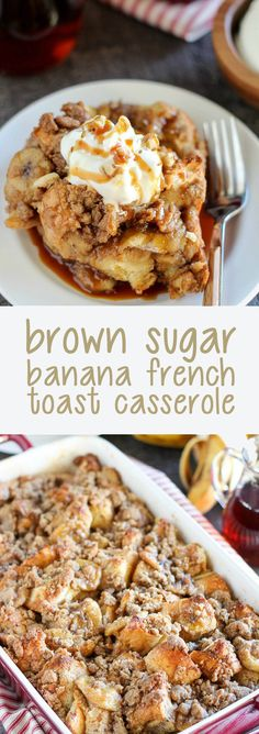 Brown sugar banana french toast casserole. Yummy breakfast treats for the family. Try making with Jimmy John's Day Old French Bread!