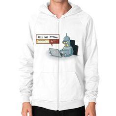 Robot Detector Zip Hoodie (on man)
