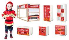 Feuerwehr Kinderzimmer Aufkleber passend für IKEA Kinderzimmer Möbel