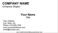 This Blank Business Card has no background image (perfect for printing onto colored card stock.) Just enter your contact information. Free to download and print