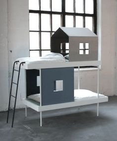 cabin bunk bed by elina & klaus aalto - what a great way to add some privacy/coziness to a shared room
