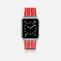 Supreme x Apple Watch. #supreme #supremenyc #apple #preme #streetwear Apple Watch 42mm, New Apple Watch, Unicorn Jewelry, Cat Jewelry, Jewelry Watches, Pink Jewelry, Jewellery, Skull Jewelry, Flower Jewelry
